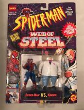 TOY BIZ SPIDERMAN WEB OF STEEL SPIDERMAN VS KINGPIN ACTION FIGURE NR-MT