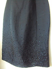 Metallic/shiny Black sheath/tailored beaded dress, size 10, made in late 90s