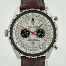 Breitling Chrono-matic, Ref A41360, Men's, Stainless Steel, Silver Dial, Leather