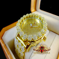 Men's Lab Diamond Yellow Gold Finish Khronos Joe Rodeo Cluster Bezel Iced Watch
