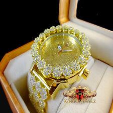 Men's Lab Diamond Yellow Gold Finish Khronos Joe Rodeo Cluster Bezel Iced Watch