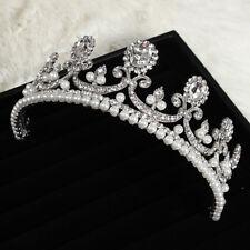 Baroque Crystal Rhinestone Bridal Tiara Pearls Crown Princess Wedding Prom USA