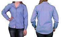 Dickies Women's Stretch Tailor Button Down Workwear Blue Shirt Top Sz XL NWT