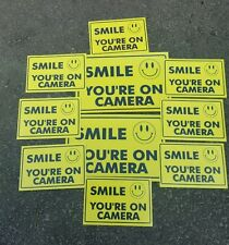 CCTV VIDEO SURVEILLANCE Security Decal  Warning Sticker (smile you're )set of10