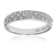 9ct White Gold Ladies 100% natural Diamond half etenity Ring size S free postage