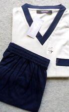 Herren Schlafanzug Pyjama Shorty Thieme Baumwolle  Beige/Marine Gr.48 NEU