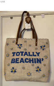 Tommy Bahama Beach Bag TOTALLY BEACHIN Large Tote Embroidered with beads NWT