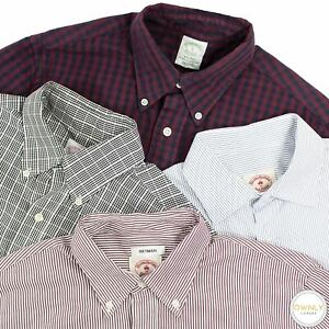 LOT OF 4 Brooks Brothers Multi Color Cotton Checked Striped Btn Down Shirts S