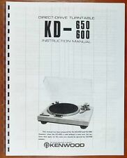 Kenwood KD-600 and KD-650 Turntable Owners Manual