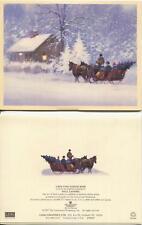VINTAGE COLONIAL COOK APPLE CRISP RECIPE 1 CAPE COD SNOW STORM HORSE SLEIGH CARD
