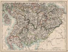 Sud de l'écosse. dumfries galloway lothian frontières lanark ayr. johnston 1903 carte