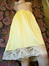 "Vintage Vassarette Yellow Nylon Lacy A-line Half Slip M 24"""