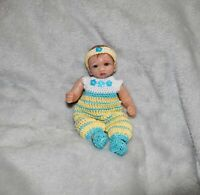 """5 """" In New Art OOAK Polymer Clay Silicone Mini Baby Doll Clothes Clothing Romper"""