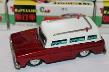 VERY NICE RED TIN FRICTION POWERED TRAVELING STATION WAGON WITH SOUND in BOX