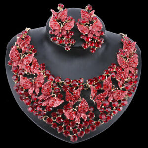 Women Crystal Butterfly Necklace Earring Party Bridal Dinner Dress Jewelry Set