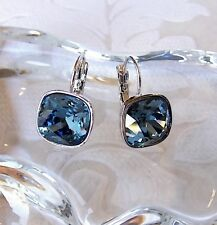 Denim Blue Leverback Drop Earrings with Square Cushion Cut Swarovski Crystals