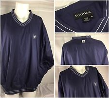 FootJoy Golf Wind Pullover XL Blue V Neck Lined LS EUC YGI S2