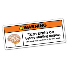 Turn Brain On Sticker Funny Car Stickers Novelty Decals #6015K