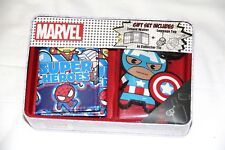 Marvel Kawaii Super Heroes Trifold Wallet w/ luggage tag in Tin Gift box