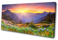 Landscapes Sunset Mountains  SINGLE DOEK WALL ART foto afdrukken