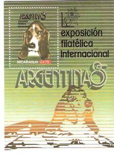 Nicaragua 1985 Dog World Stamp Expo in Argentina Souvenir Sheet MNH (SC# 1464)