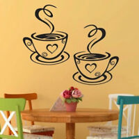 Double Coffee Cups Wall Stickers Beautiful Design tea Room Decoration Art  HS3