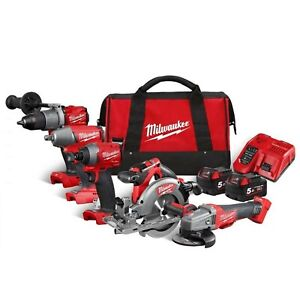 Milwaukee M18FPP5M-502B 18v 5 Piece FUEL Cordless Tool Kit in Carrying Bag