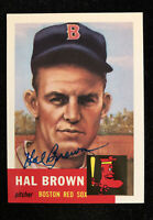 HAL BROWN 1953 TOPPS ARCHIVES AUTOGRAPHED SIGNED AUTO BASEBALL CARD 184