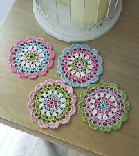 4 Crochet coasters NEW handmade Shabby Chic Vintage Pastel