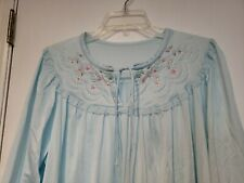 Vintage Shadowline Nightgown Sleepwear Duster Lace Floral Embroidery Sz L Usa