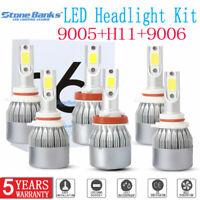 Combo 9005 9006 H11 LED Headlight Kit Hi Low Beam Fog Light 6000K 300W 60000LM