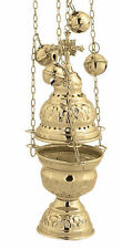 Orthodox Christian Church Brass Thurible Censer Incense Burner 4 chains 12 bells