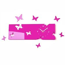 Modern Butterflies Pink Large DIY Wall Clock Home Decor Living Room Bedroom