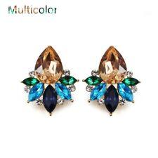 Elegant Acrylic Crystal Stone Stud Earrings Rhinestone Piercing Earring Jewelry