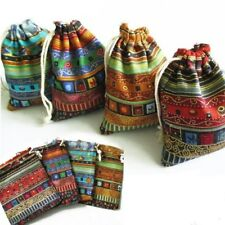 Jewelry Packaging Gift Pouch Bags Drawstring Cloth Linen Fabric 10pcs Aztec Case