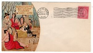 #682 Massachusetts Bay Colony 1930 First Day Cover Ralph Dyer Hand-painted