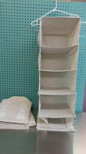 (2) Pair Mainstays Canvas 6 Shelf Closet Organizer Camper Hanging Side Pockets