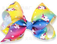 Unicorn Style 3  Hair Bows Girls Diamante Hair Clip Accessories 12cm POL90