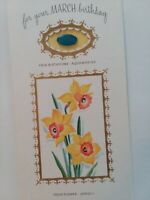 1961 Vtg For Your MARCH BIRTHDAY Rust Craft GREETING CARD w AQUAMARINE Stone