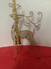Christmas Gold Mesh Wire With Beads Reindeer Decoration