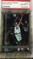 1997-98 Topps Chrome #115 Tim Duncan RC Rookie PSA 10 GEM MINT San Antonio Spurs