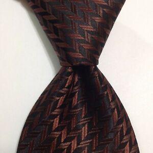 DOLCE & GABBANA Mens Viscose/Silk Necktie ITALY Luxury Geometric Brown/Black EUC
