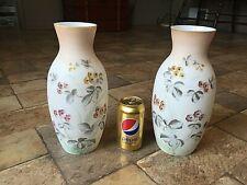 "Lovely Vintage Pair 11 1/2"" Tall Bristol Glass Vases Floral pattern"