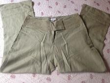 JACQUELINE RIU  pantalon femme lin viscose vert kaki Taille 38