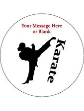 """Personalised Female Karate Silhouette 7.5"""" Edible Wafer Paper Cake Topper"""
