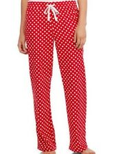 SECRET TREASURES Womens Pajama Sleep Pants M MEDIUM Red Polka Dot Flannel Cotton