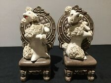 Vintage retro kitch Spagetti 1950s Poodles sitting on chairs X 2 ~  13cm