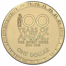 2014 $1 '100 Years of Anzac' Circulating Coin - Ex Security Bag (Coin Holder)