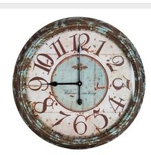 Rusty Turquoise Round Metal Wall Clock Shabby Chic Home Decor Large 24""