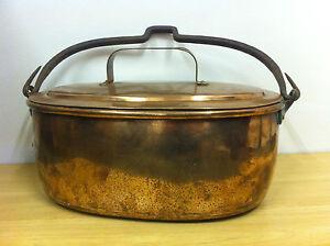 Antique Victorian Large Copper Fish Kettle Pan Poisoniere Pot Planter (TA095)